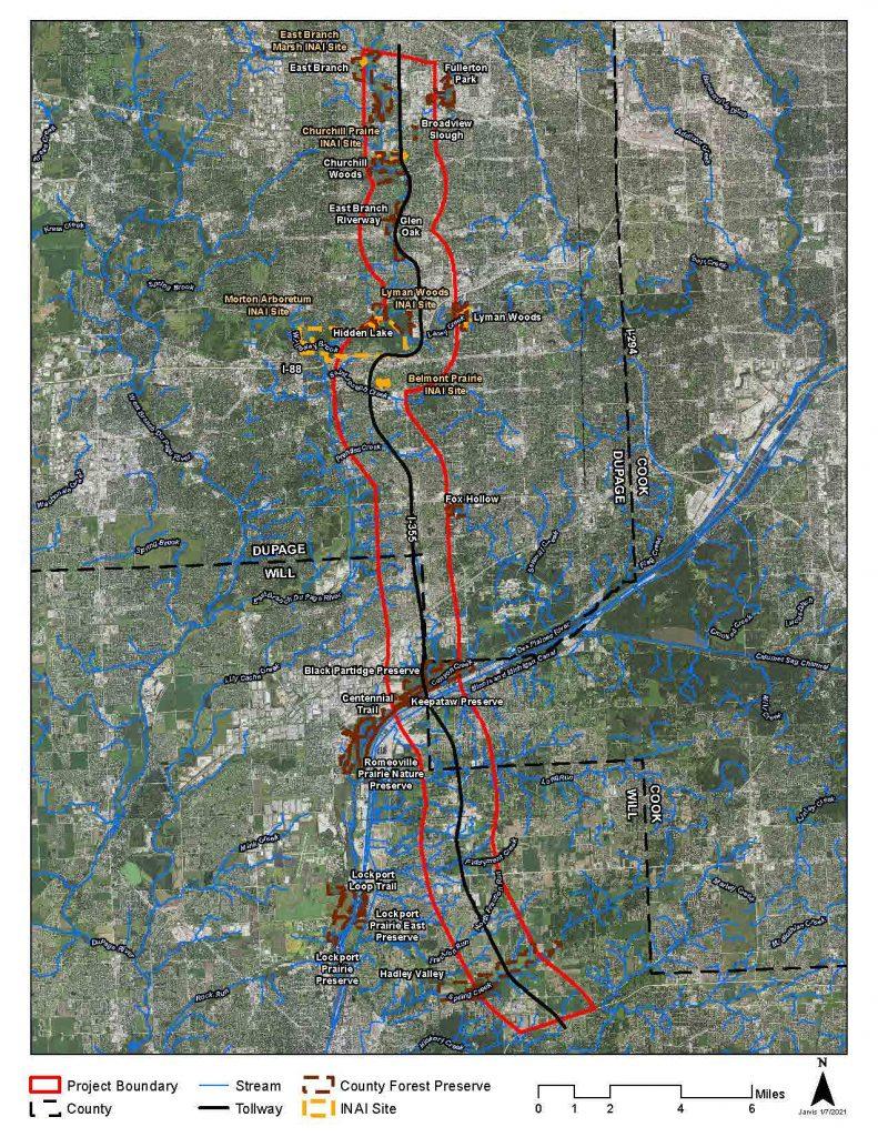 map highlighting I355 corridor